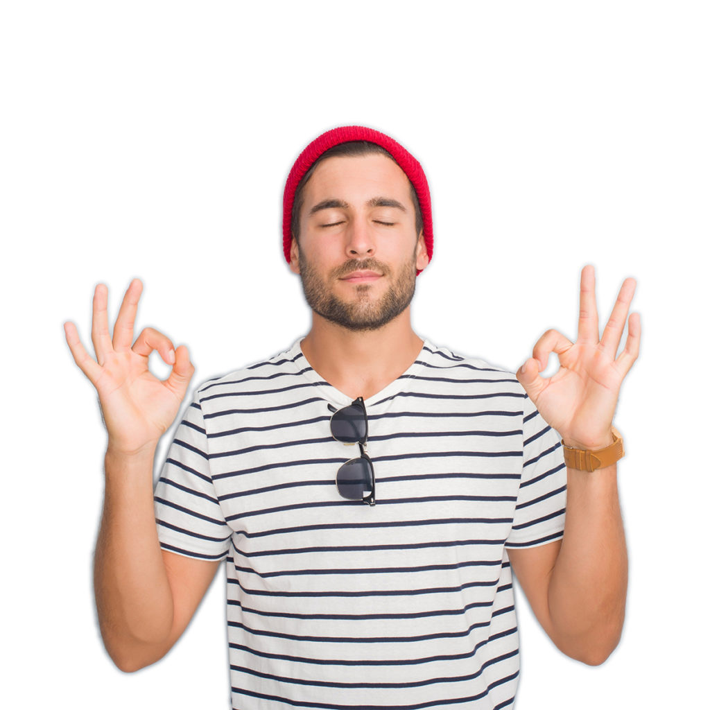 Handsome young hipster man over grey grunge wall wearing navy t-shirt and wool cap relax and smiling with eyes closed doing meditation gesture with fingers. Yoga concept.